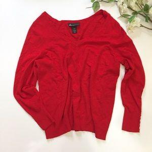 Lane Bryant Red V Neck Lightweight Sweater